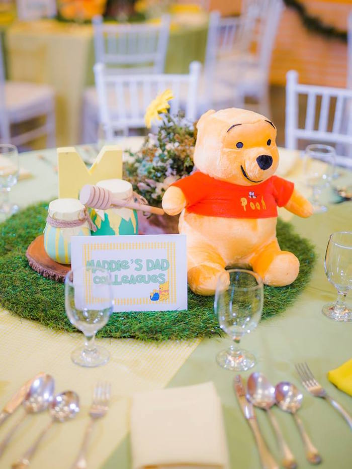 Winnie the Pooh Centerpiece from a Winnie the Pooh Garden Birthday Party on Kara's Party Ideas | KarasPartyIdeas.com (18)