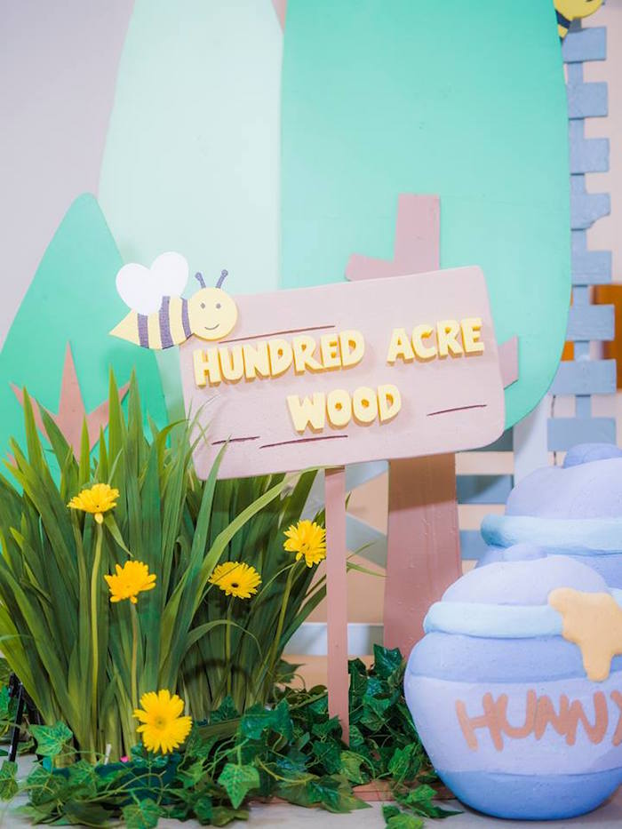 Hundred Acre Wood Sign from a Winnie the Pooh Garden Birthday Party on Kara's Party Ideas | KarasPartyIdeas.com (17)