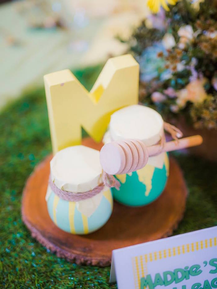 Honey Pot Centerpiece from a Winnie the Pooh Garden Birthday Party on Kara's Party Ideas | KarasPartyIdeas.com (16)