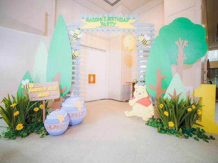 Entrance + decor from a Winnie the Pooh Garden Birthday Party on Kara's Party Ideas | KarasPartyIdeas.com (15)