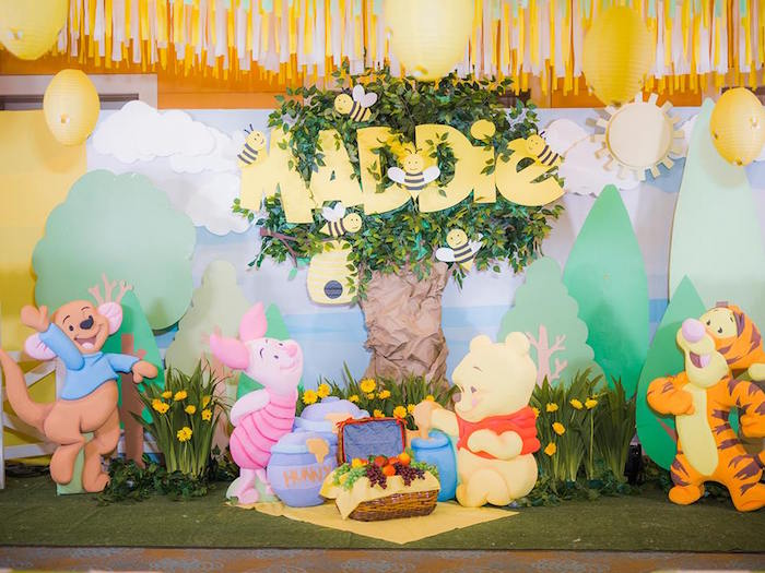 Hundred Acre Wood Backdrop from a Winnie the Pooh Garden Birthday Party on Kara's Party Ideas | KarasPartyIdeas.com (14)