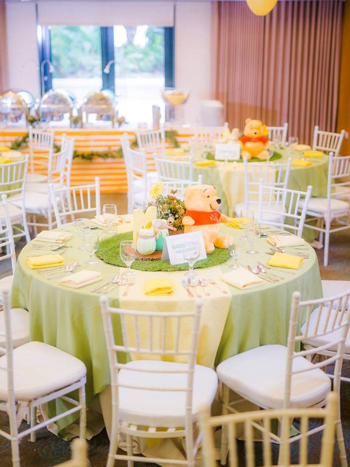 Guest table from a Winnie the Pooh Garden Birthday Party on Kara's Party Ideas | KarasPartyIdeas.com (13)