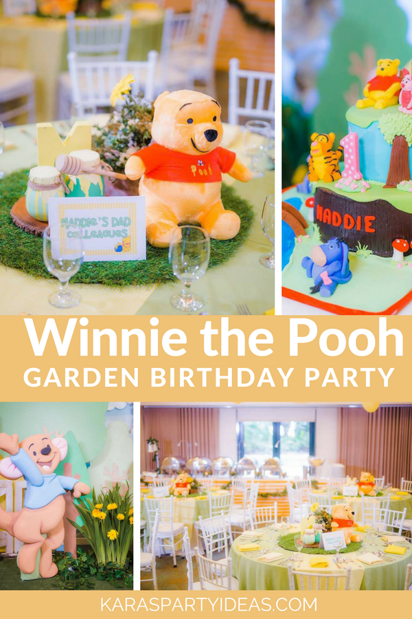 Winnie the Pooh Garden Birthday Party via Kara's Party Ideas - KarasPartyIdeas.com