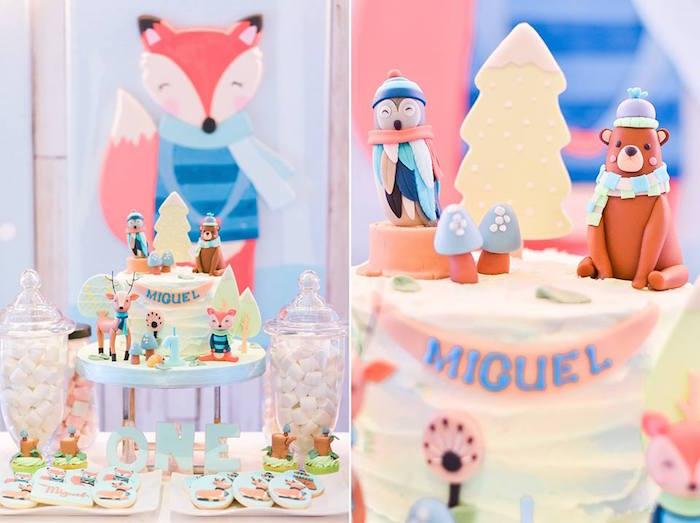 Woodland Cake from a Winter Woodland Birthday Party on Kara's Party Ideas | KarasPartyIdeas.com (10)