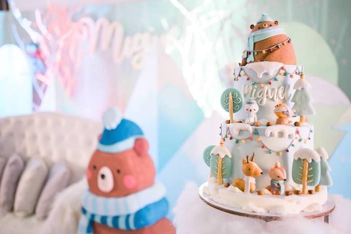 Winter Mountain Cake from a Winter Woodland Birthday Party on Kara's Party Ideas | KarasPartyIdeas.com (5)