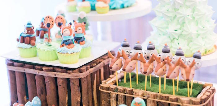 Woodland Animal Cupcakes and Cake Pops from a Winter Woodland Birthday Party on Kara's Party Ideas | KarasPartyIdeas.com (23)