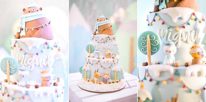 Mountain Cake from a Winter Woodland Birthday Party on Kara's Party Ideas | KarasPartyIdeas.com (20)