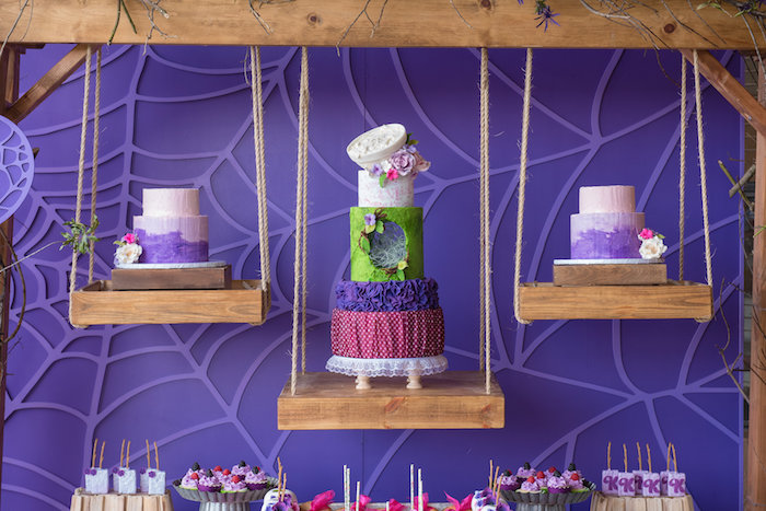 Suspended Cakes from a Little Miss Muffet Birthday Party on Kara's Party Ideas | KarasPartyIdeas.com (19)