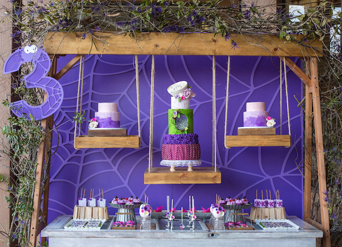Dessert Table with Suspended Cakes from a Little Miss Muffet Birthday Party on Kara's Party Ideas | KarasPartyIdeas.com (18)