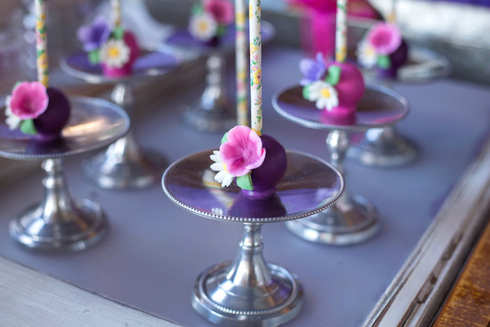 Flower Cake Pops from a Little Miss Muffet Birthday Party on Kara's Party Ideas | KarasPartyIdeas.com (15)