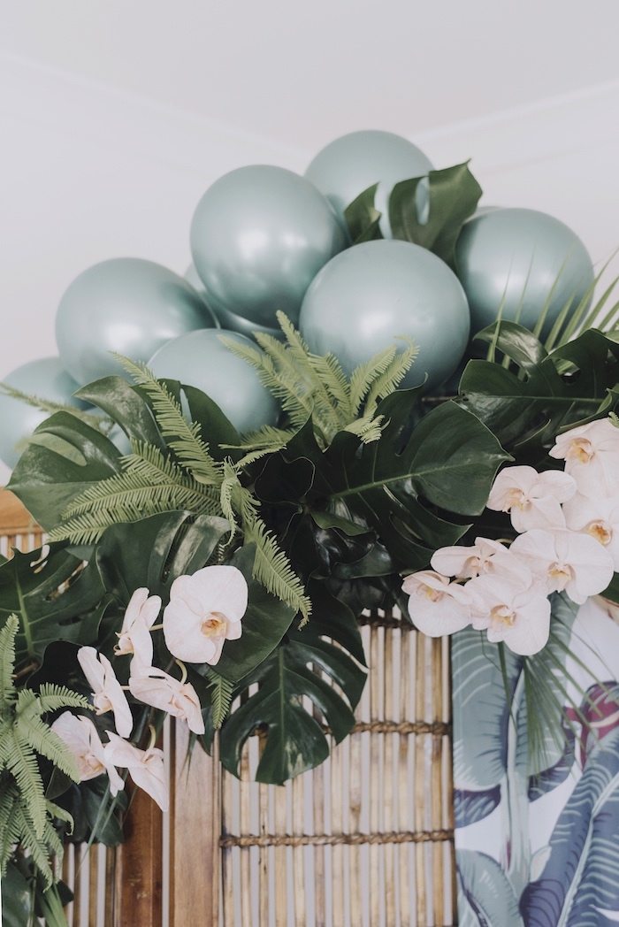 Floral Balloon Arch from a Tropical Lovebirds Bridal Shower/Wedding Party on Kara's Party Ideas | KarasPartyIdeas.com (4)