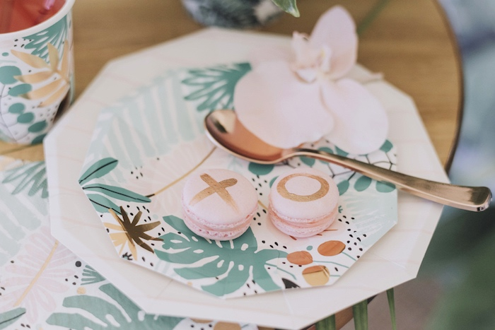 XO Macarons + Tropical Table Setting from a Tropical Lovebirds Bridal Shower/Wedding Party on Kara's Party Ideas | KarasPartyIdeas.com (22)