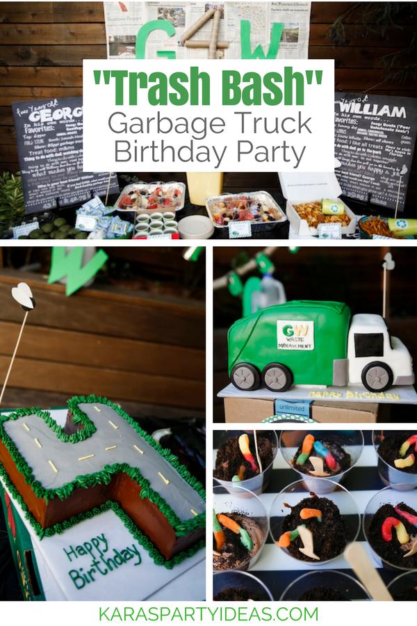 Karas Party Ideas Trash Bash Garbage Truck Birthday Party
