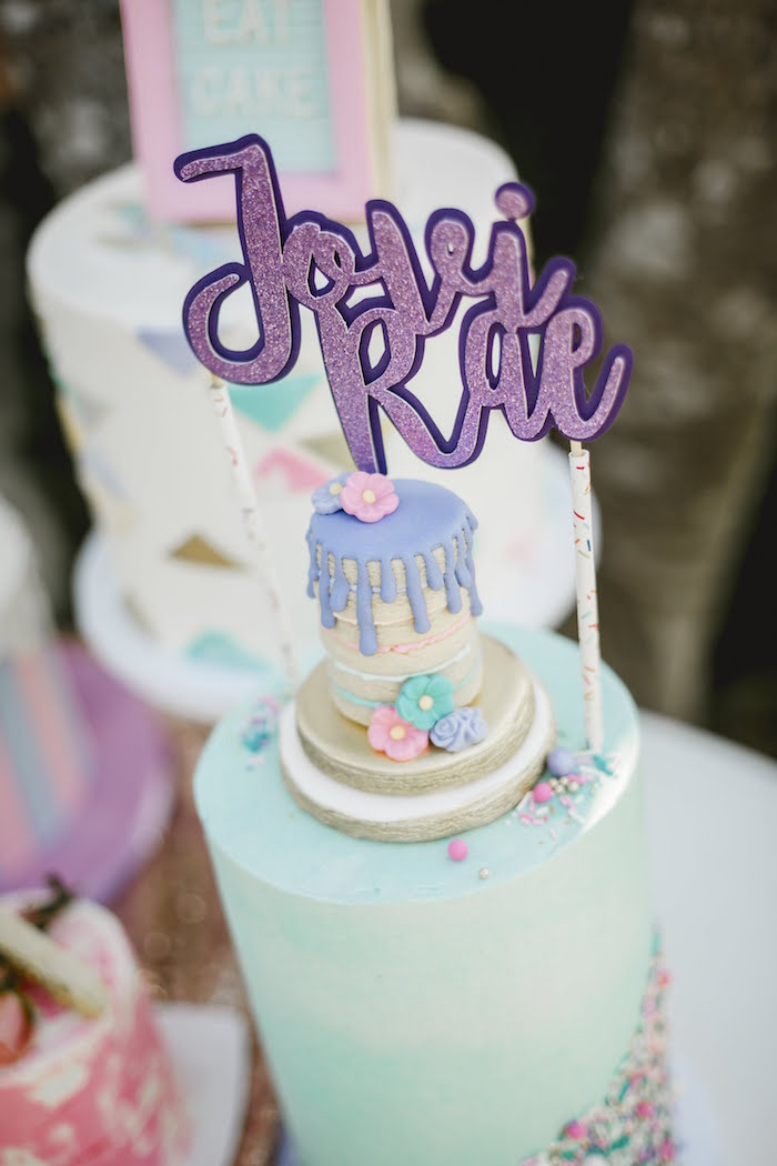 """Cookie Stack Cake Topper from a """"Let Her Eat Cake"""" 1st Birthday Party on Kara's Party Ideas 