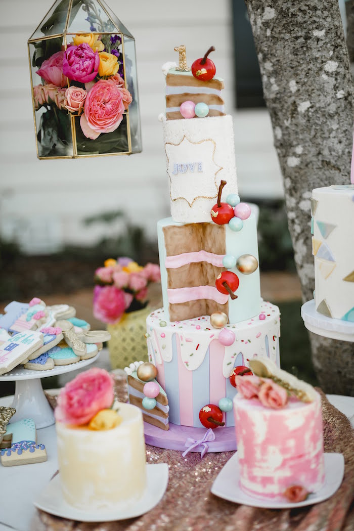 """Cherry Slice Cake from a """"Let Her Eat Cake"""" 1st Birthday Party on Kara's Party Ideas 