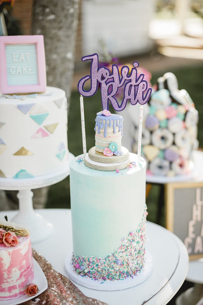 """Cookie Stack Sprinkle Cake from a """"Let Her Eat Cake"""" 1st Birthday Party on Kara's Party Ideas 