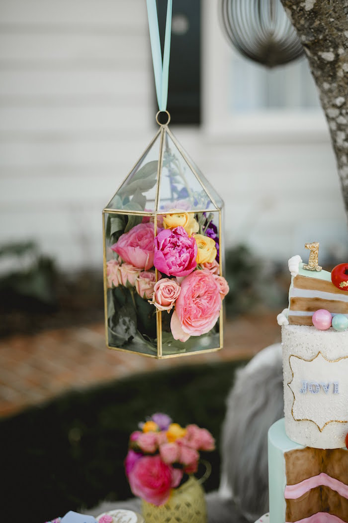 """Floral Lantern from a """"Let Her Eat Cake"""" 1st Birthday Party on Kara's Party Ideas 