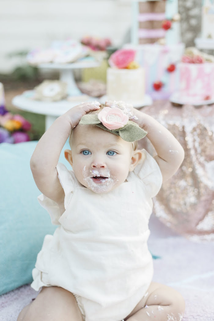 """Cake Smash from a """"Let Her Eat Cake"""" 1st Birthday Party on Kara's Party Ideas 