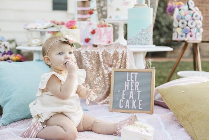 """Let Her Eat Cake"" 1st Birthday Party on Kara's Party Ideas | KarasPartyIdeas.com (4)"