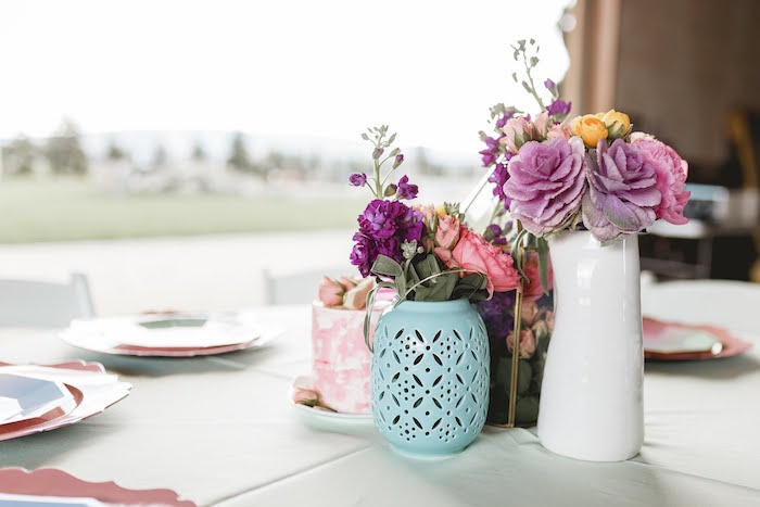 """Guest Table from a """"Let Her Eat Cake"""" 1st Birthday Party on Kara's Party Ideas 