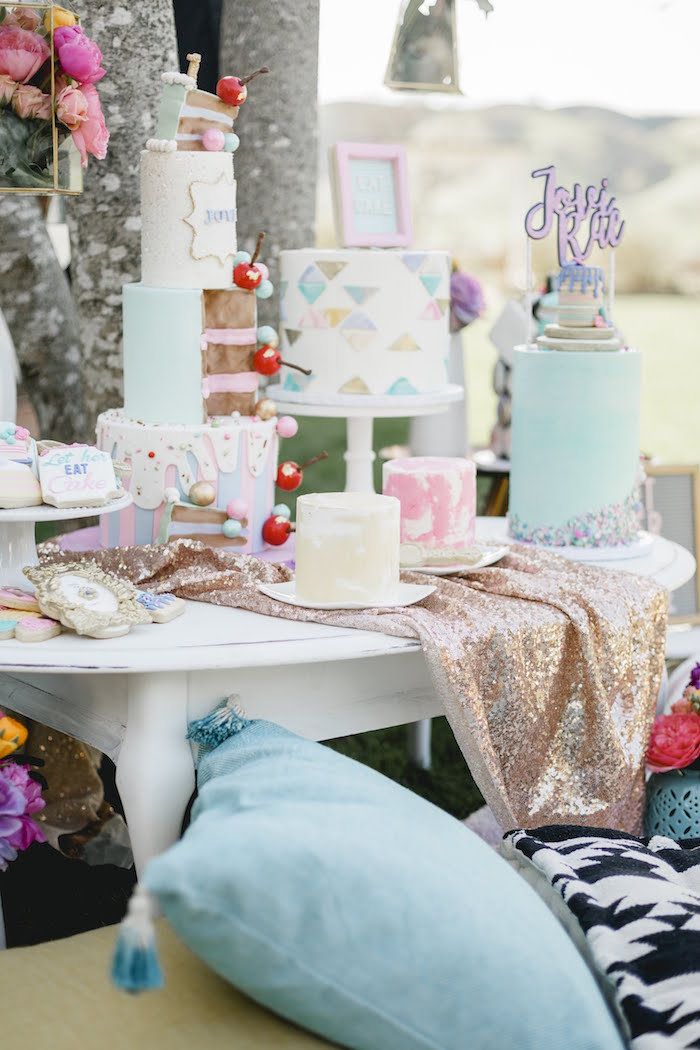 """Dessert Table from a """"Let Her Eat Cake"""" 1st Birthday Party on Kara's Party Ideas 