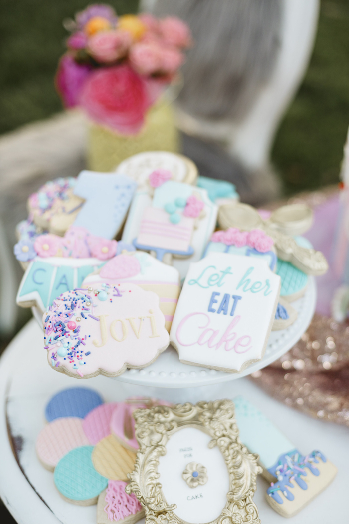 """Cake Themed Cookies from a """"Let Her Eat Cake"""" 1st Birthday Party on Kara's Party Ideas 