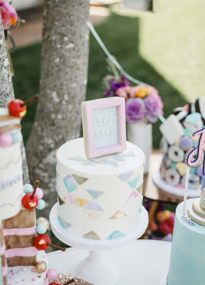 """Geometrical Cake from a """"Let Her Eat Cake"""" 1st Birthday Party on Kara's Party Ideas 