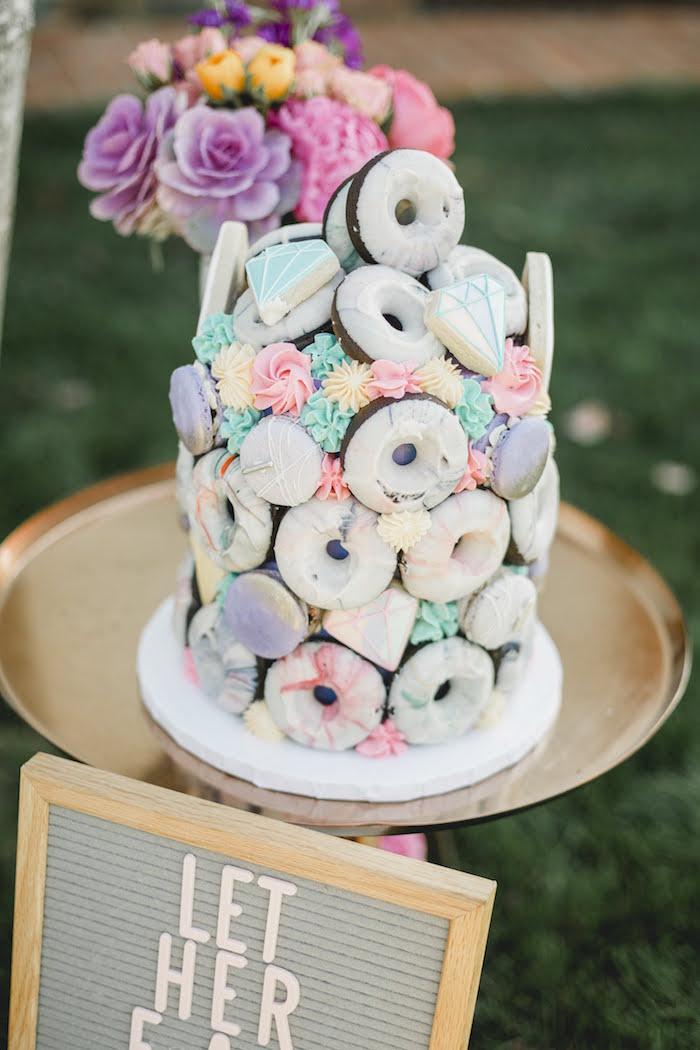 "Jewel Doughnut Cake from a ""Let Her Eat Cake"" 1st Birthday Party on Kara's Party Ideas | KarasPartyIdeas.com (23)"