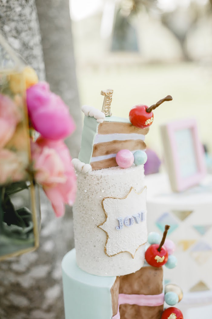 """Cherry-adorned Cake from a """"Let Her Eat Cake"""" 1st Birthday Party on Kara's Party Ideas 