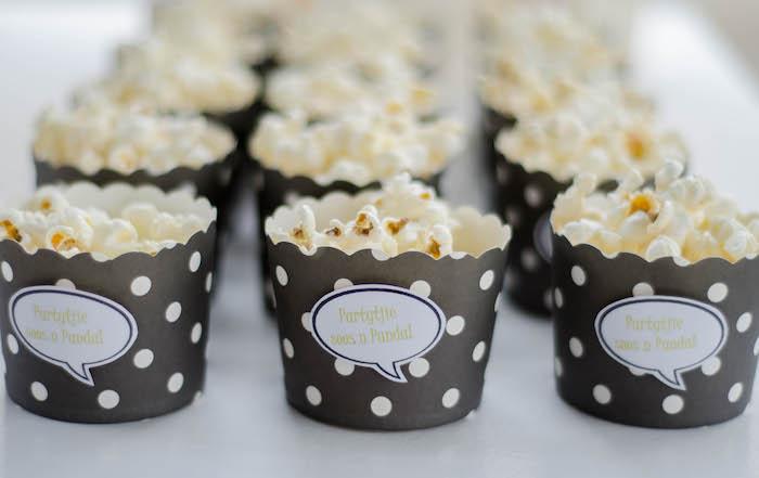 "Polka Dot Black & White Popcorn Cups from a ""Party Like a Panda"" Birthday Party on Kara's Party Ideas   KarasPartyIdeas.com (15)"