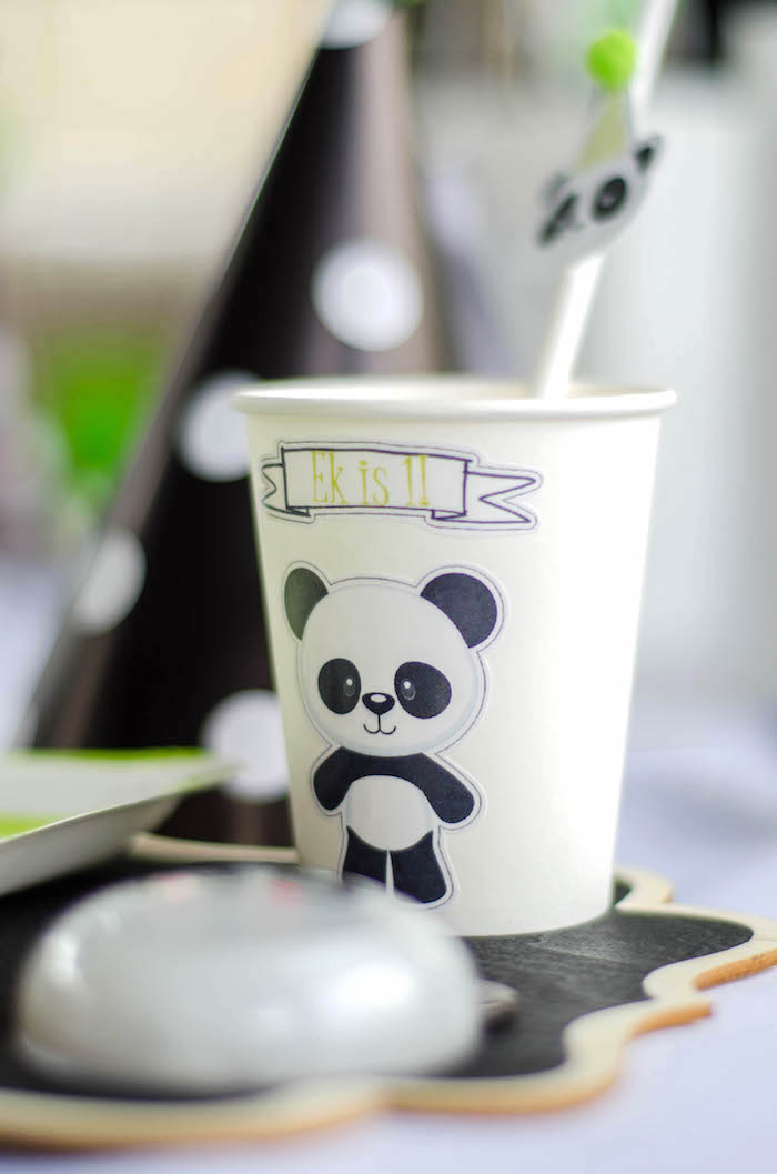 "Paper Panda Bear Cup from a ""Party Like a Panda"" Birthday Party on Kara's Party Ideas   KarasPartyIdeas.com (29)"