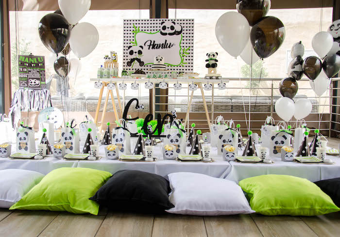 """Pillow-Seated Panda Bear Themed Guest Table from a """"Party Like a Panda"""" Birthday Party on Kara's Party Ideas   KarasPartyIdeas.com (24)"""