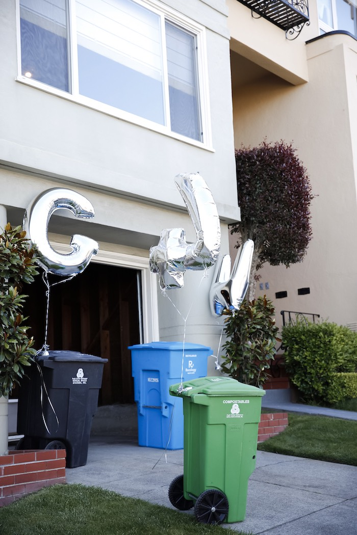 "Trash Themed Party Entrance from a ""Trash Bash"" Garbage Truck Birthday Party on Kara's Party Ideas 