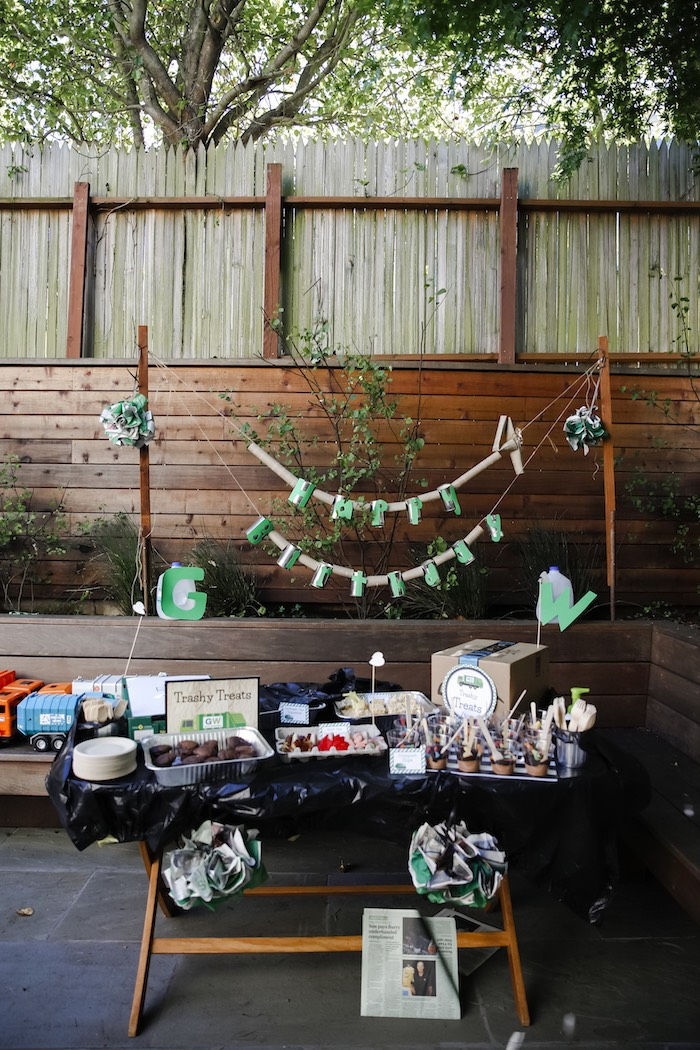 """Trashy"" Party Table from a ""Trash Bash"" Garbage Truck Birthday Party on Kara's Party Ideas 