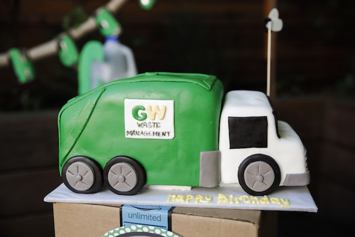 "Garbage Truck Cake from a ""Trash Bash"" Garbage Truck Birthday Party on Kara's Party Ideas 