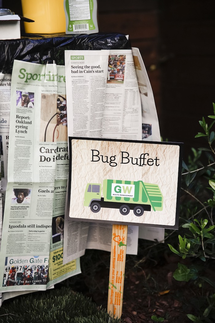 "Bug Buffet Dessert Table Signage from a ""Trash Bash"" Garbage Truck Birthday Party on Kara's Party Ideas 