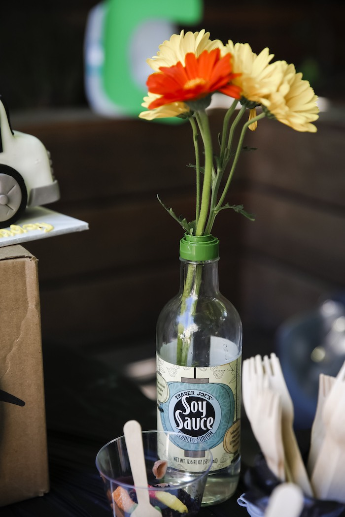 """Trashy"" Floral Arrangement from a ""Trash Bash"" Garbage Truck Birthday Party on Kara's Party Ideas | KarasPartyIdeas.com (13)"