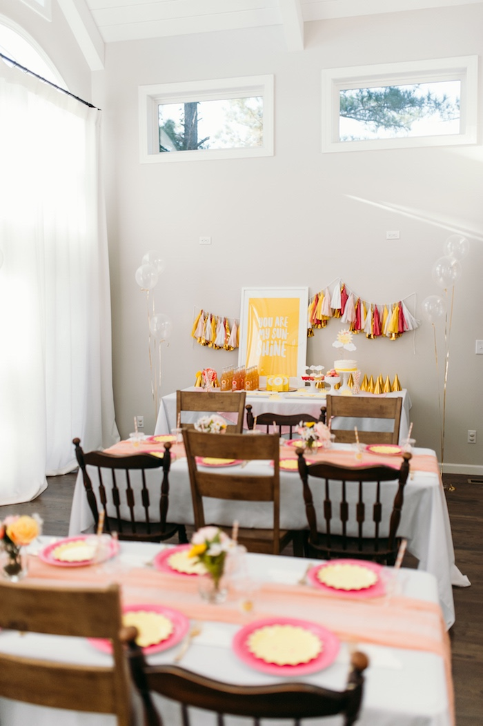 """Party Tables from """"You Are My Sunshine"""" Birthday Party on Kara's Party Ideas 