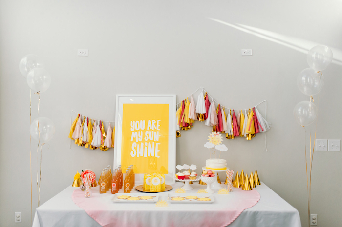 """Sunshine Dessert Table from """"You Are My Sunshine"""" Birthday Party on Kara's Party Ideas 