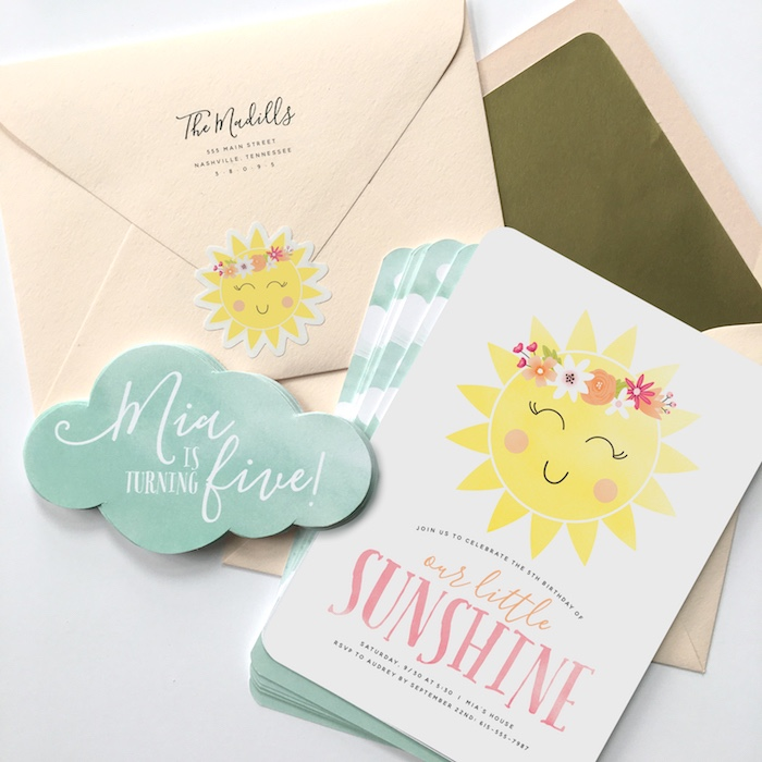 """Sunshine Party Invite from """"You Are My Sunshine"""" Birthday Party on Kara's Party Ideas 