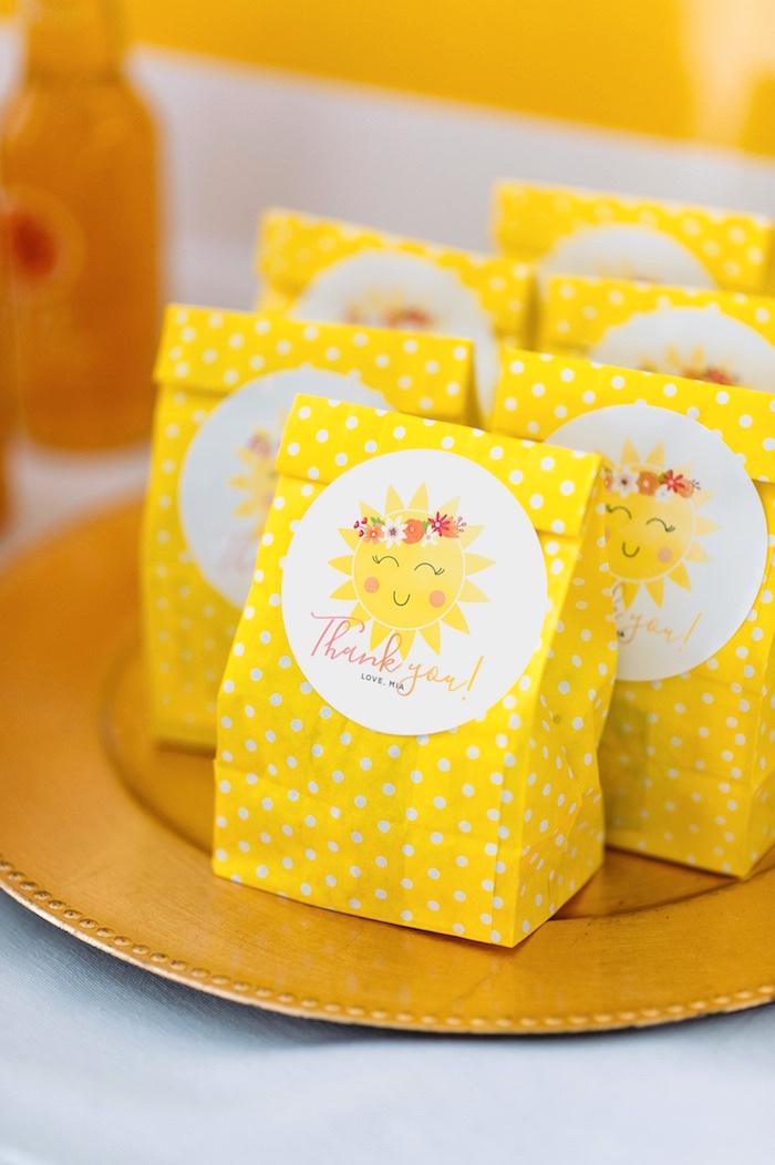 "Yellow Sun Favor Sacks from a ""You Are My Sunshine"" Birthday Party on Kara's Party Ideas | KarasPartyIdeas.com (19)"