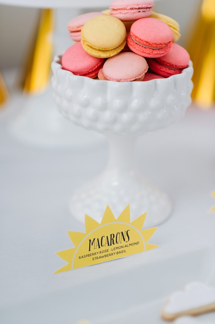 """Macarons from a """"You Are My Sunshine"""" Birthday Party on Kara's Party Ideas 