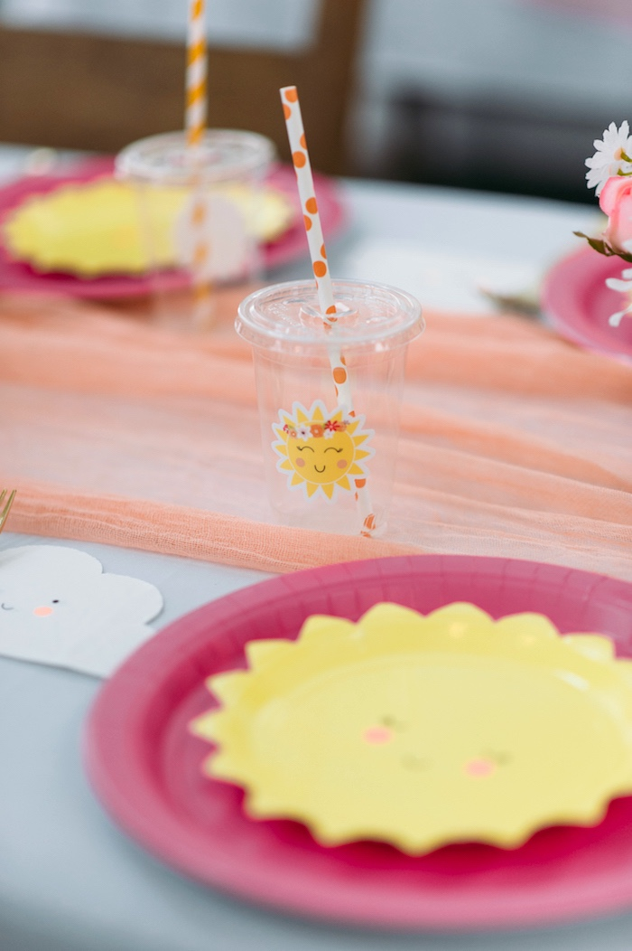 """Sun Cup from a """"You Are My Sunshine"""" Birthday Party on Kara's Party Ideas 