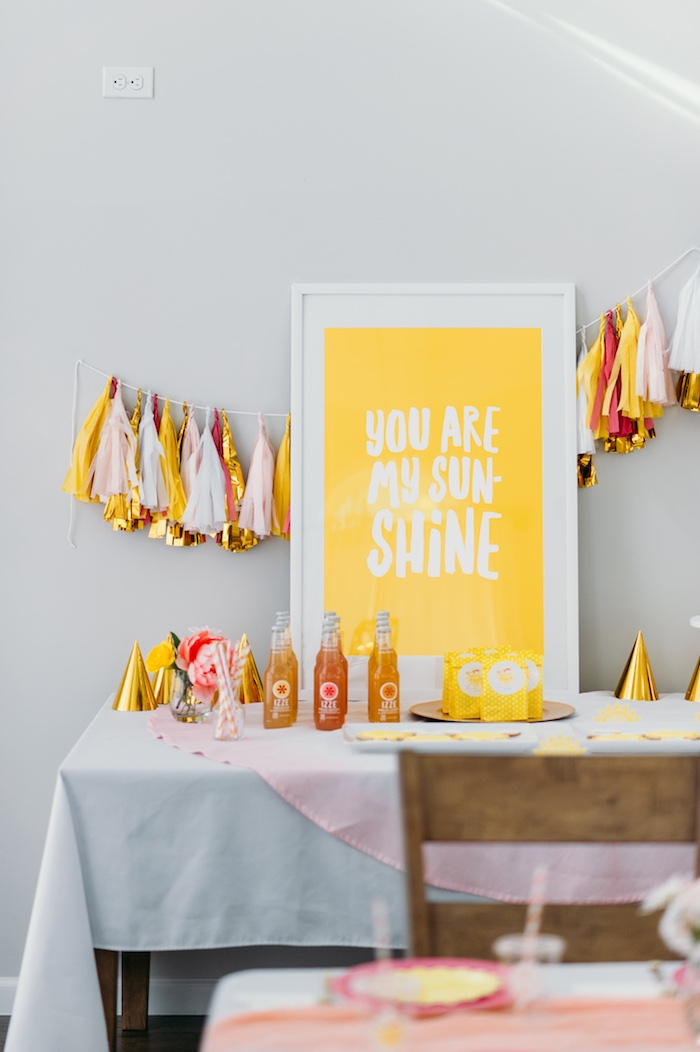 """Sunshine Party Table from a """"You Are My Sunshine"""" Birthday Party on Kara's Party Ideas 