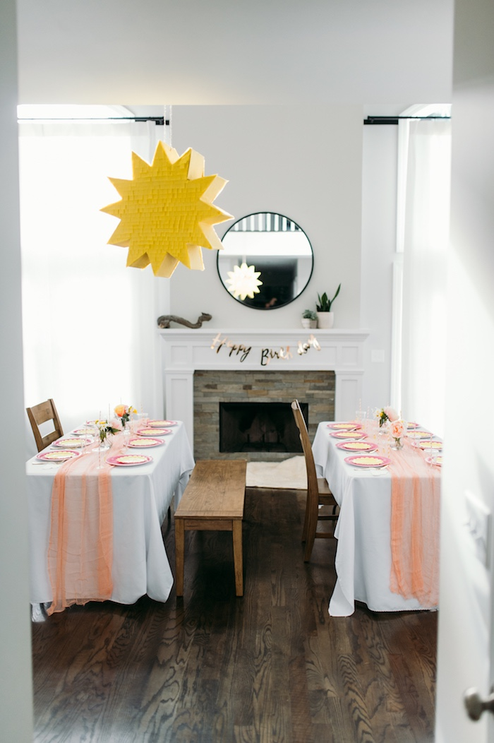 """Guest Tables from """"You Are My Sunshine"""" Birthday Party on Kara's Party Ideas 