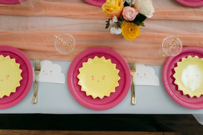 "Sunbeam Table Settings from ""You Are My Sunshine"" Birthday Party on Kara's Party Ideas 
