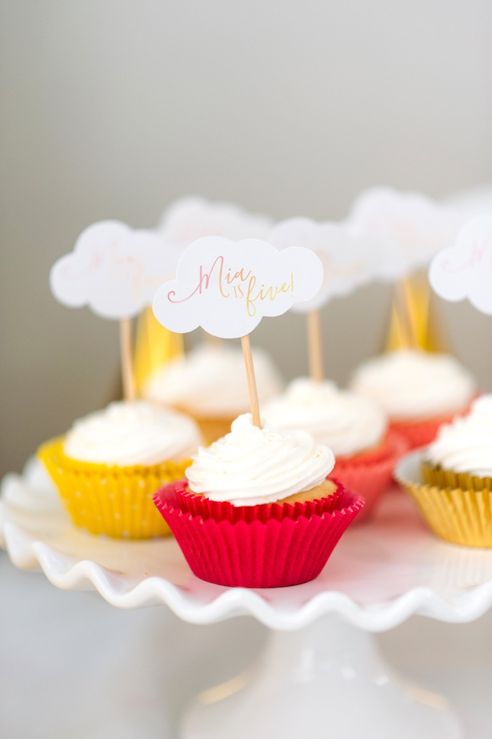 """Cloud Cupcakes from """"You Are My Sunshine"""" Birthday Party on Kara's Party Ideas 