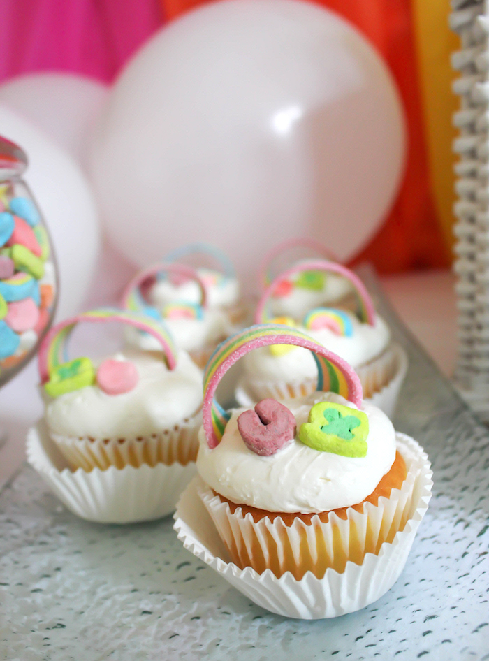 """Lucky Charms Rainbow Cupcakes from a """"You're My Lucky Charm"""" St. Patrick's Day Party on Kara's Party Ideas 