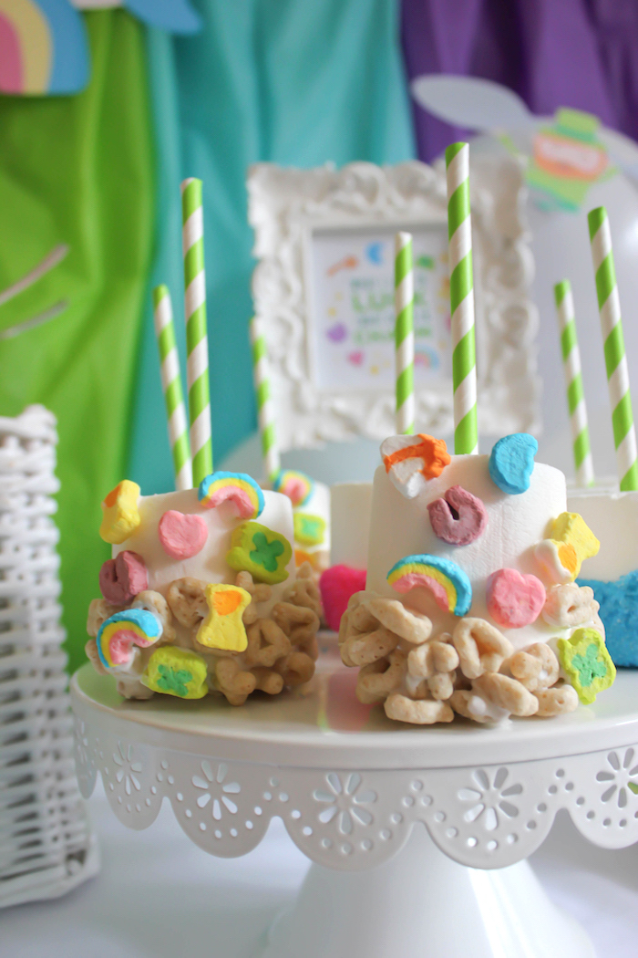 """Lucky Charms Marshmallow Pops from a """"You're My Lucky Charm"""" St. Patrick's Day Party on Kara's Party Ideas 