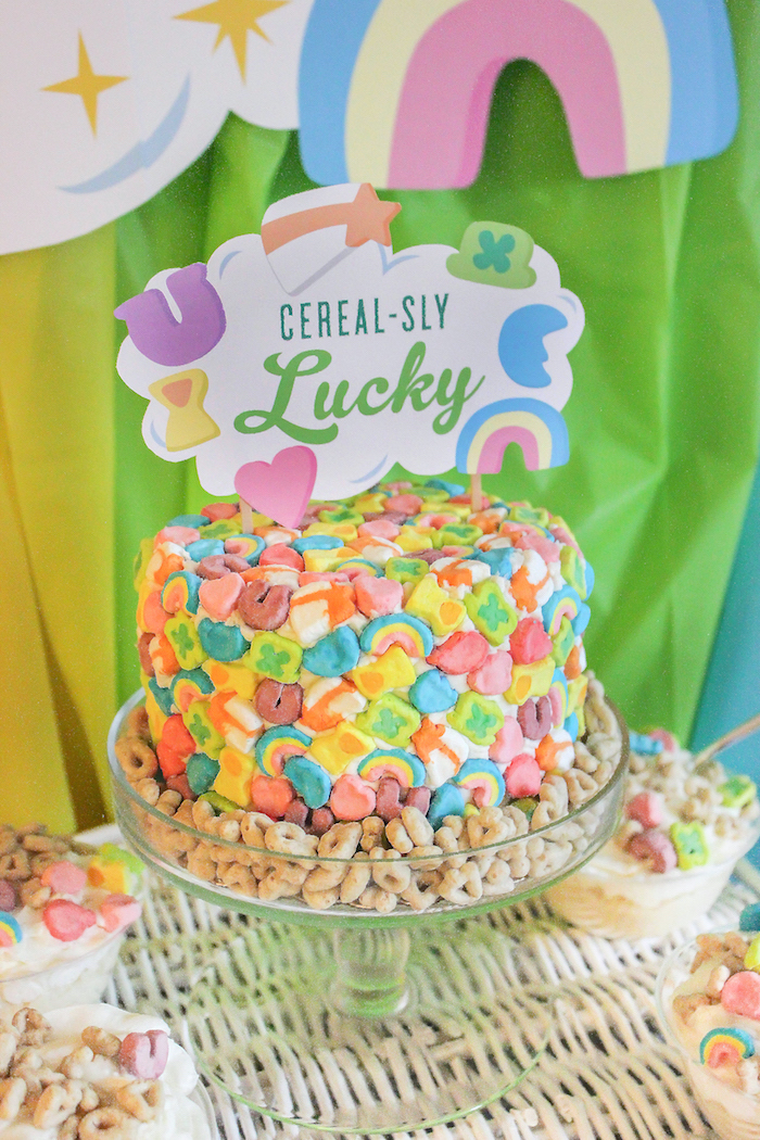 """Lucky Charms Cake from a """"You're My Lucky Charm"""" St. Patrick's Day Party on Kara's Party Ideas 